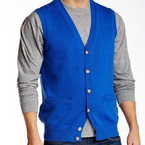 Pendleton Bright Blue Cardigan Sweater Vest L